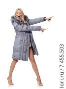 Купить «Beautiful woman in gray jacket isolated on white», фото № 7455503, снято 8 декабря 2014 г. (c) Elnur / Фотобанк Лори