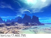Купить «Чужая планета. Скалы и луна», иллюстрация № 7460795 (c) Parmenov Pavel / Фотобанк Лори