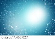 Абстрактный голубой фон с молекулами. Стоковая иллюстрация, иллюстратор Кирилл Черезов / Фотобанк Лори