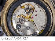 Купить «Механизм старых наручных часов», фото № 7464727, снято 8 апреля 2015 г. (c) Евгений Ткачёв / Фотобанк Лори