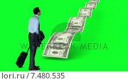 Купить «Businessman looking at money path», видеоролик № 7480535, снято 24 сентября 2018 г. (c) Wavebreak Media / Фотобанк Лори
