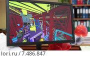Купить «Монитор компьютера крупным планом с объемной картинкой строительного объекта, проектное бюро», видеоролик № 7486847, снято 6 апреля 2015 г. (c) Кекяляйнен Андрей / Фотобанк Лори