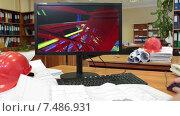 Купить «Таймлапс, трехмерная модель строительного объекта вращается на экране монитора», видеоролик № 7486931, снято 6 апреля 2015 г. (c) Кекяляйнен Андрей / Фотобанк Лори