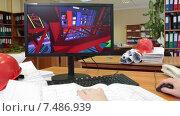 Купить «Разработка и проектирование объемной модели по бумажным чертежам, инженер за работой», видеоролик № 7486939, снято 6 апреля 2015 г. (c) Кекяляйнен Андрей / Фотобанк Лори
