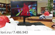 Купить «3D модель на экране монитора при проектировании завода», видеоролик № 7486943, снято 6 апреля 2015 г. (c) Кекяляйнен Андрей / Фотобанк Лори
