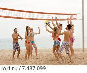Купить «Friends playing volleyball», фото № 7487099, снято 19 ноября 2019 г. (c) Яков Филимонов / Фотобанк Лори