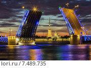 Санкт-Петербург - разведённый Дворцовый мост (2015 год). Редакционное фото, фотограф олег данильченко / Фотобанк Лори