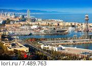 Купить «Port of Barcelona from Montjuic», фото № 7489763, снято 5 апреля 2014 г. (c) Яков Филимонов / Фотобанк Лори