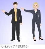 Мужчина и женщина в офисных костюмах. Стоковая иллюстрация, иллюстратор Портнова Екатерина / Фотобанк Лори