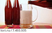 Купить «Пиво из темной пивной бутылки наливается в большую стеклянную кружку», видеоролик № 7493935, снято 19 мая 2015 г. (c) Кекяляйнен Андрей / Фотобанк Лори
