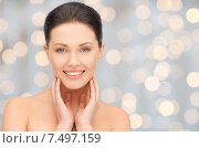 Купить «beautiful young woman touching her face and neck», фото № 7497159, снято 7 апреля 2012 г. (c) Syda Productions / Фотобанк Лори