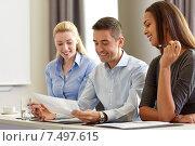 Купить «business people with papers meeting in office», фото № 7497615, снято 25 октября 2014 г. (c) Syda Productions / Фотобанк Лори