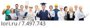 Купить «happy bachelor with diploma over professionals», фото № 7497743, снято 29 января 2015 г. (c) Syda Productions / Фотобанк Лори
