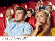 Купить «happy friends watching horror movie in theater», фото № 7498507, снято 19 января 2015 г. (c) Syda Productions / Фотобанк Лори