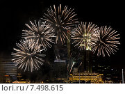 Купить «beautiful fireworks at night city sky», фото № 7498615, снято 18 февраля 2015 г. (c) Syda Productions / Фотобанк Лори