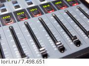 Купить «control panel at recording studio or radio station», фото № 7498651, снято 8 апреля 2015 г. (c) Syda Productions / Фотобанк Лори