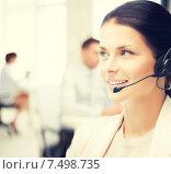 Купить «female helpline operator in call center», фото № 7498735, снято 18 июня 2011 г. (c) Syda Productions / Фотобанк Лори