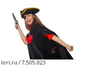 Купить «Pretty girl in carnival clothing with hand gun isolated on white», фото № 7505023, снято 1 марта 2015 г. (c) Elnur / Фотобанк Лори