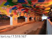 Купить «Москва. Верхняя Сыромятническая улица. Тоннель с граффити под железнодорожным мостом», эксклюзивное фото № 7519167, снято 25 мая 2015 г. (c) Яна Королёва / Фотобанк Лори