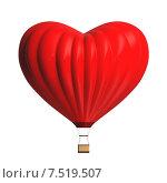 Купить «Воздушный шар в форме сердца на белом фоне», иллюстрация № 7519507 (c) Роман Иванов / Фотобанк Лори