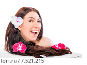Купить «Весёлая брюнетка с длинными волосами», фото № 7521215, снято 10 апреля 2015 г. (c) Константин Лабунский / Фотобанк Лори
