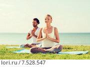 Купить «smiling couple making yoga exercises outdoors», фото № 7528547, снято 6 августа 2014 г. (c) Syda Productions / Фотобанк Лори