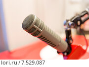 Купить «microphone at recording studio or radio station», фото № 7529087, снято 8 апреля 2015 г. (c) Syda Productions / Фотобанк Лори