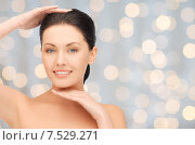 Купить «beautiful young woman touching her face and chin», фото № 7529271, снято 7 апреля 2012 г. (c) Syda Productions / Фотобанк Лори