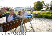Купить «group of students or teenagers hanging out», фото № 7533835, снято 15 сентября 2013 г. (c) Syda Productions / Фотобанк Лори