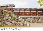 Купить «Защитные стены хэй замка Хиросима (Замок Карпа). Национальный исторический объект. Построен в 1591, разрушен атомной бомбой 1945 г., реконструирован в 1958 г.», фото № 7539691, снято 20 мая 2015 г. (c) Иван Марчук / Фотобанк Лори