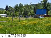 Купить «Домик с синей крышей в деревне», фото № 7540715, снято 8 июня 2015 г. (c) Ольга Логачева / Фотобанк Лори
