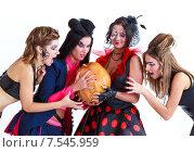 Купить «Персонажи Хэллоуина с тыквой», фото № 7545959, снято 13 октября 2012 г. (c) 1Andrey Милкин / Фотобанк Лори