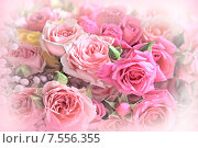 Купить «Букет из роз. Цветочный фон», фото № 7556355, снято 6 июня 2015 г. (c) Татьяна Белова / Фотобанк Лори