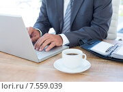 Купить «Businessman working with his laptop», фото № 7559039, снято 18 марта 2015 г. (c) Wavebreak Media / Фотобанк Лори