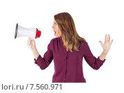 Pretty woman shouting with megaphone. Стоковое фото, агентство Wavebreak Media / Фотобанк Лори