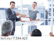 Купить «Business team smiling at camera», фото № 7594423, снято 17 марта 2015 г. (c) Wavebreak Media / Фотобанк Лори
