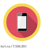 Купить «Mobile Phone Flat Icon with Long Shadow, Vector Illustration», иллюстрация № 7596851 (c) Юлия Гапеенко / Фотобанк Лори