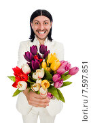 Man with tulip flowers isolated on white. Стоковое фото, фотограф Elnur / Фотобанк Лори