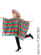 Купить «Funny mexican wearing poncho isolated on white», фото № 7597907, снято 15 января 2015 г. (c) Elnur / Фотобанк Лори