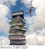 Купить «Composite image of businessman jumping holding an umbrella», фото № 7601023, снято 25 марта 2019 г. (c) Wavebreak Media / Фотобанк Лори