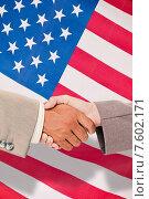 Купить «Composite image of side view of business peoples hands shaking», фото № 7602171, снято 17 августа 2018 г. (c) Wavebreak Media / Фотобанк Лори