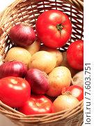 Купить «Свежие помидоры, репчатый лук и молодой картофель в плетеной корзине», эксклюзивное фото № 7603751, снято 22 июня 2015 г. (c) Яна Королёва / Фотобанк Лори
