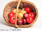 Купить «Корзина с овощами на белом фоне», эксклюзивное фото № 7603851, снято 22 июня 2015 г. (c) Яна Королёва / Фотобанк Лори