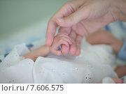 Купить «Московский областной перинатальный центр в Балашихе. Мама ухаживает за своим ребенком, фокус на ручке младенца», эксклюзивное фото № 7606575, снято 24 июня 2015 г. (c) Дмитрий Неумоин / Фотобанк Лори