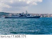 Купить «Стамбул. Турция. Турецкий военный корабль в проливе Босфор», фото № 7608171, снято 22 июня 2014 г. (c) Rokhin Valery / Фотобанк Лори