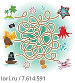 Морской лабиринт для дошкольников. Стоковая иллюстрация, иллюстратор Екатерина Перевалова / Фотобанк Лори