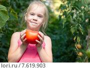 Девочка с большим помидором в саду. Стоковое фото, фотограф Евгений Чернецов / Фотобанк Лори