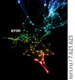 Купить «Абстрактная светящаяся сеть контактов на черном фоне», иллюстрация № 7621623 (c) Павлов Максим / Фотобанк Лори