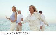Большая семья весело гуляет по пляжу. Стоковое видео, видеограф Данил Руденко / Фотобанк Лори