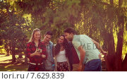 Купить «Friends taking a selfie in the park», видеоролик № 7629839, снято 15 октября 2018 г. (c) Wavebreak Media / Фотобанк Лори